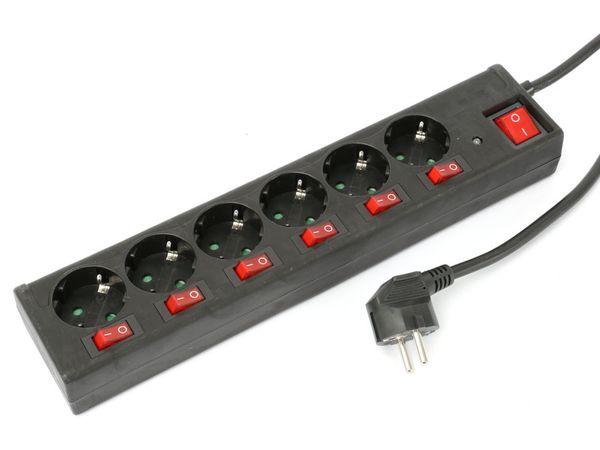 Steckdosenleiste DAYHOME SLSKU-6/S6S, 6-fach, schwarz - Produktbild 1