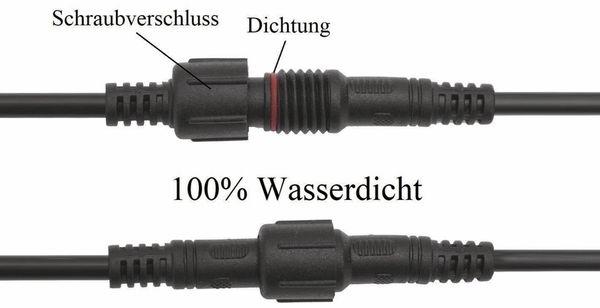 Wasserdichtes Steckverbindungsset, Stecker/Kupplung, 1 m, 3-polig - Produktbild 3