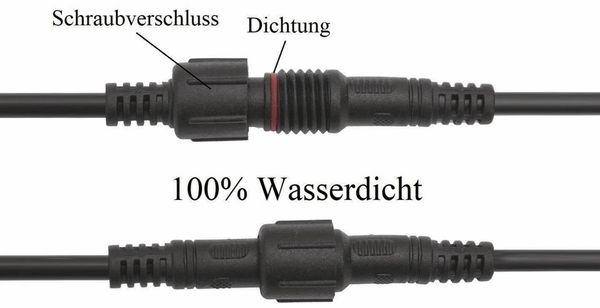 Wasserdichtes Steckverbindungsset, Stecker/Kupplung, 1 m, 4-polig - Produktbild 3