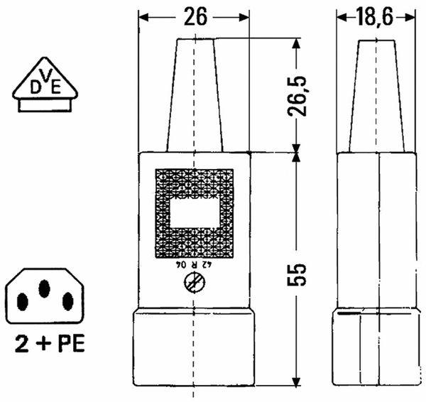 Kaltgerätestecker, gerade, schwarz - Produktbild 2