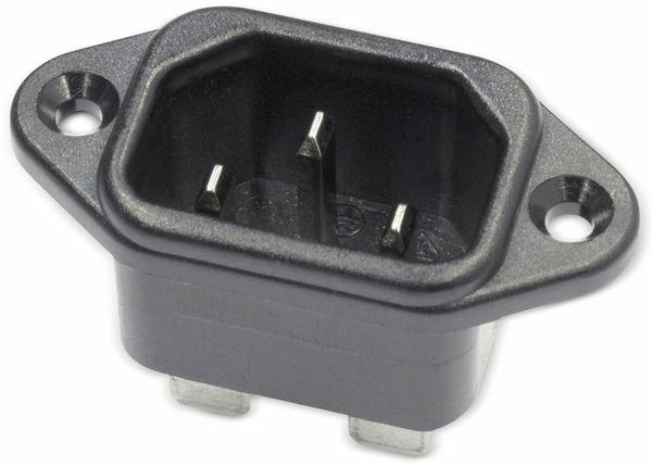 Kaltgeräte Einbaustecker mit horizontalem Flansch, schwarz - Produktbild 1