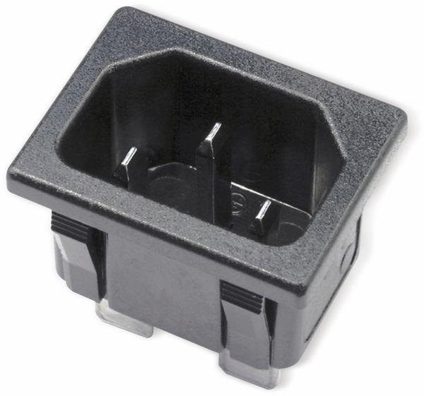 Kaltgeräte Einbaustecker, Snap-in, schwarz