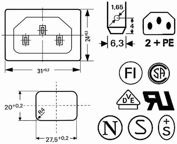 Kaltgeräte Einbaustecker, Snap-in, schwarz - Produktbild 2