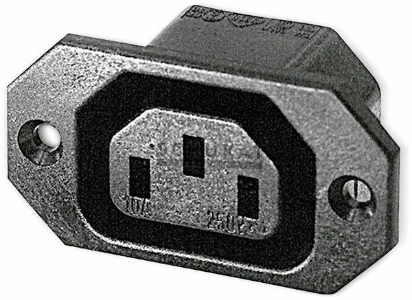 Kaltgeräte Einbaukupplung mit horizontalem Flansch, schwarz