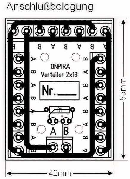 Stromverteiler 2x 13-polig, V2x13, mit Schraubklemmen und Kontrollleuchten - Produktbild 2