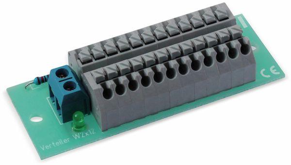 Stromverteiler 2x 12-polig, W2x12, mit Steckklemmen und Kontrollleuchten