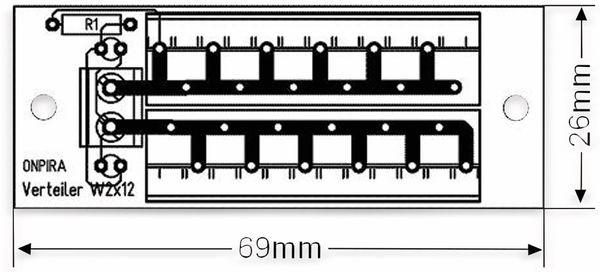 Stromverteiler 2x 12-polig, W2x12, mit Steckklemmen und Kontrollleuchten - Produktbild 3