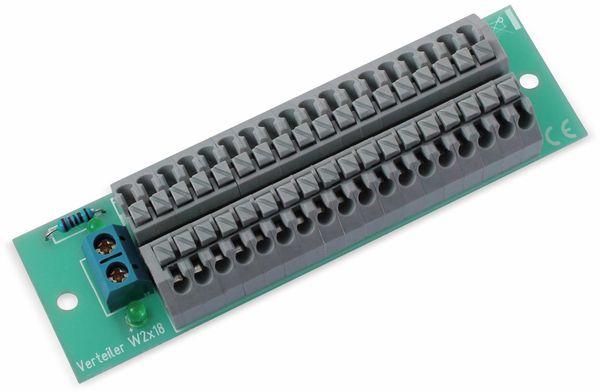 Stromverteiler 2x 18-polig, W2x18, mit Steckklemmen und Kontrollleuchten