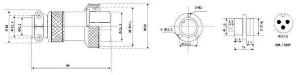 Hochstrom Einbaustecker-Set, 3-polig, Ø 19 mm, mit Abdeckkappe - Produktbild 2