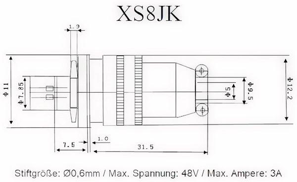 Einbaustecker-Set Ø 8mm 4-Pin mit Federverschluss - Produktbild 2