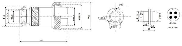 Hochstrom Einbaustecker-Set, 4-polig, Ø 19 mm, mit Abdeckkappe - Produktbild 3