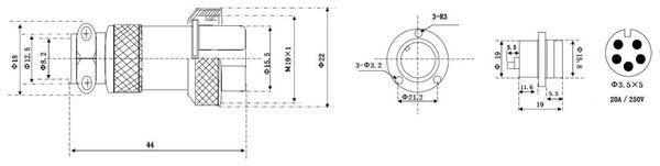 Hochstrom Einbaustecker-Set, 5-polig, Ø 19 mm, mit Abdeckkappe - Produktbild 3