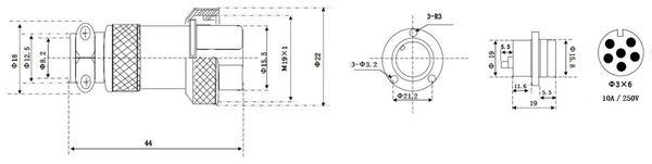 Hochstrom Einbaustecker-Set, 6-polig, Ø 19 mm, mit Abdeckkappe - Produktbild 3