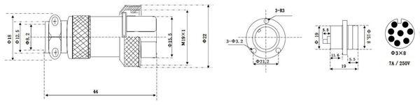 Hochstrom Einbaustecker-Set, 8-polig, Ø 19 mm, mit Abdeckkappe - Produktbild 3