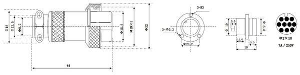 Hochstrom Einbaustecker-Set, 10-polig, Ø 19 mm, mit Abdeckkappe - Produktbild 3