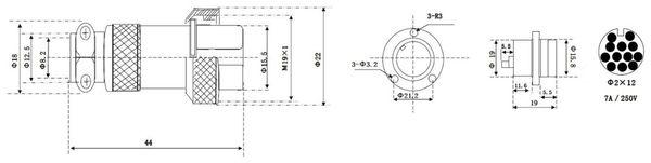 Hochstrom Einbaustecker-Set, 12-polig, Ø 19 mm, mit Abdeckkappe - Produktbild 3