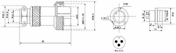 Hochstrom Einbaustecker-Set, 3-polig, Ø 25 mm, mit Abdeckkappe - Produktbild 3