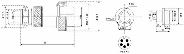 Hochstrom Einbaustecker-Set, 5-polig, Ø 25 mm, mit Abdeckkappe - Produktbild 3