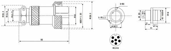 Hochstrom Einbaustecker-Set, 6-polig, Ø 25 mm, mit Abdeckkappe - Produktbild 3