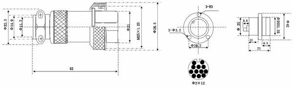 Hochstrom Einbaustecker-Set, 12-polig, Ø 25 mm, mit Abdeckkappe - Produktbild 3