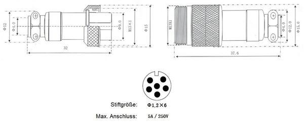 Hochstrom Steckverbinder-Set, 6-polig, Ø 12 mm, Schraubverschluss - Produktbild 3