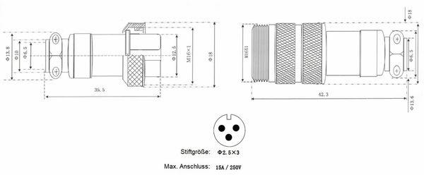 Hochstrom Steckverbinder-Set, 3-polig, Ø 16 mm, Schraubverschluss - Produktbild 3