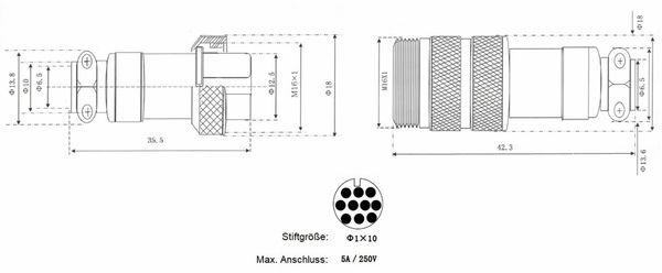 Hochstrom Steckverbinder-Set, 10-polig, Ø 16 mm, Schraubverschluss - Produktbild 3
