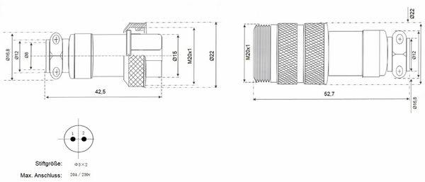 Hochstrom Steckverbinder-Set, 2-polig, Ø 20 mm, Schraubverschluss - Produktbild 3