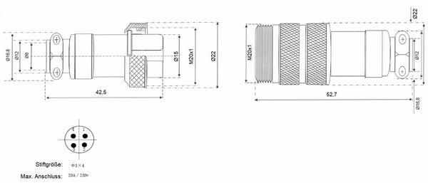 Hochstrom Steckverbinder-Set, 4-polig, Ø 20 mm, Schraubverschluss - Produktbild 3
