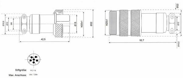 Hochstrom Steckverbinder-Set, 6-polig, Ø 20 mm, Schraubverschluss - Produktbild 3