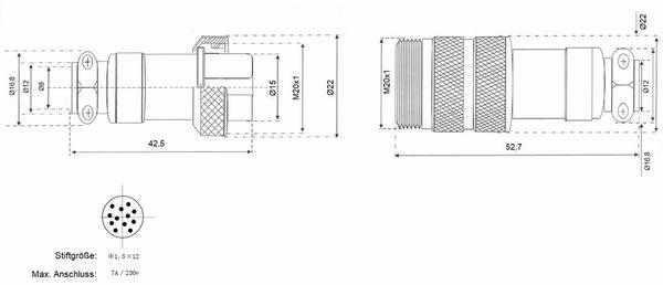 Hochstrom Steckverbinder-Set, 12-polig, Ø 20 mm, Schraubverschluss - Produktbild 3