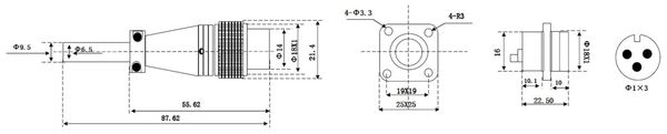 Einbaustecker-Set, 3-pol., Ø 16mm, mit Schraubverschluss und Schutzkappe - Produktbild 2