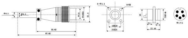 Einbaustecker-Set, 5-pol., Ø 16mm, mit Schraubverschluss und Schutzkappe - Produktbild 2