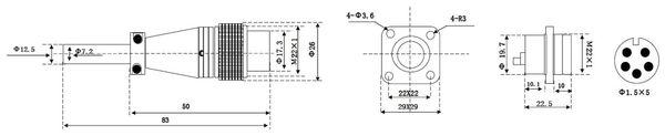 Einbaustecker-Set, 5-pol., Ø 20 mm, mit Schraubverschluss und Schutzkappe - Produktbild 2