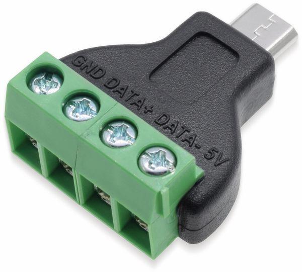 Steckverbinder, Micro-USB, Schraubanschl, Stecker - Produktbild 2