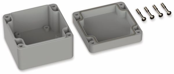 POLLIN, Polycarbonat Gehäuse, 82 x 80 x 55 mm, IP66, Lichtgrau - Produktbild 2