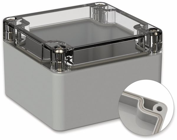 POLLIN, Polycarbonat Gehäuse, 82 x 80 x 55 mm, IP66, Lichtgrau, Glasklarer Deckel