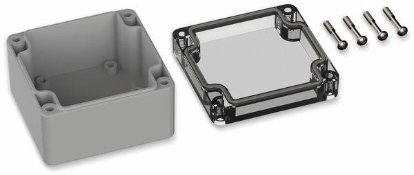 POLLIN, Polycarbonat Gehäuse, 82 x 80 x 55 mm, IP66, Lichtgrau, Glasklarer Deckel - Produktbild 2