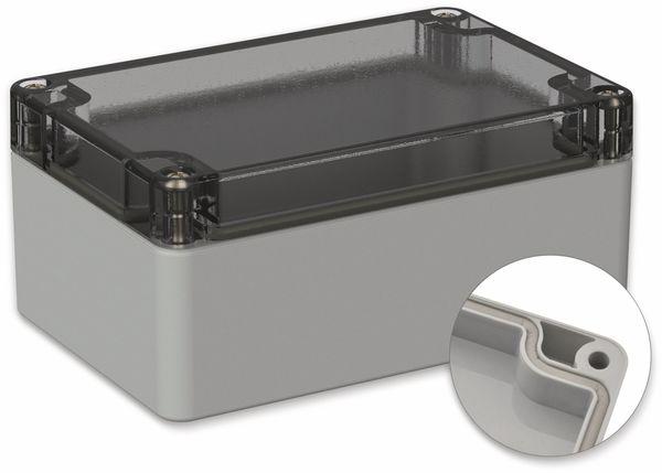 POLLIN, Polycarbonat Gehäuse, 120 x 80 x 55 mm, IP66, Lichtgrau, Glasklarer Deckel