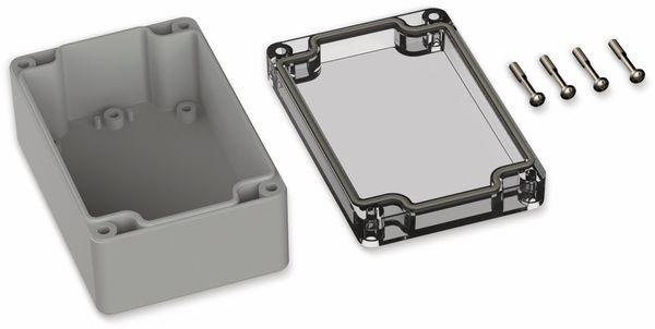 POLLIN, Polycarbonat Gehäuse, 120 x 80 x 55 mm, IP66, Lichtgrau, Glasklarer Deckel - Produktbild 2