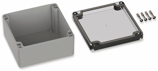 POLLIN, Polycarbonat Gehäuse, 122 x 120 x 55 mm, IP66, Lichtgrau, Glasklarer Deckel - Produktbild 2