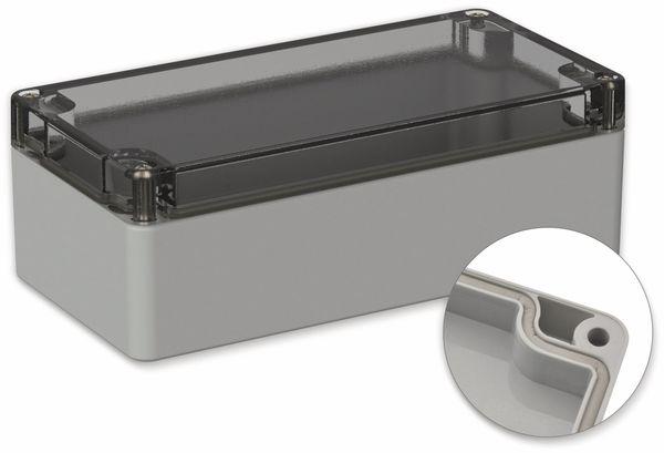 POLLIN, Polycarbonat Gehäuse, 160 x 80 x 55 mm, IP66, Lichtgrau, Glasklarer Deckel