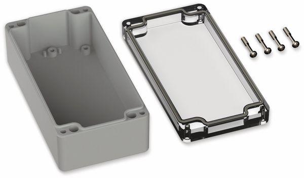 POLLIN, Polycarbonat Gehäuse, 160 x 80 x 55 mm, IP66, Lichtgrau, Glasklarer Deckel - Produktbild 2