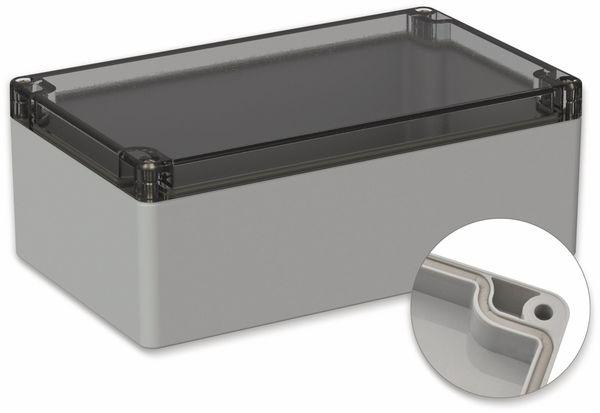 POLLIN, Polycarbonat Gehäuse, 200 x 120 x 75 mm, IP66, Lichtgrau, Glasklarer Deckel