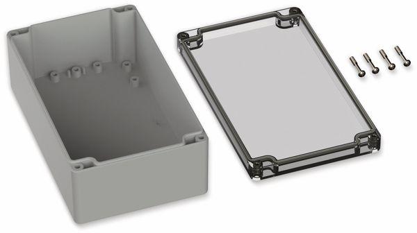 POLLIN, Polycarbonat Gehäuse, 200 x 120 x 75 mm, IP66, Lichtgrau, Glasklarer Deckel - Produktbild 2