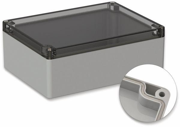 POLLIN, Polycarbonat Gehäuse, 200 x 150 x 75 mm, IP65, Lichtgrau, Glasklarer Deckel