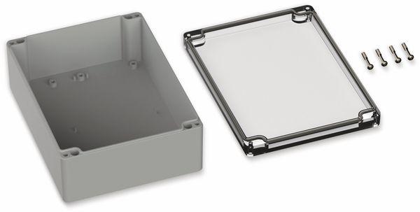 POLLIN, Polycarbonat Gehäuse, 200 x 150 x 75 mm, IP65, Lichtgrau, Glasklarer Deckel - Produktbild 2