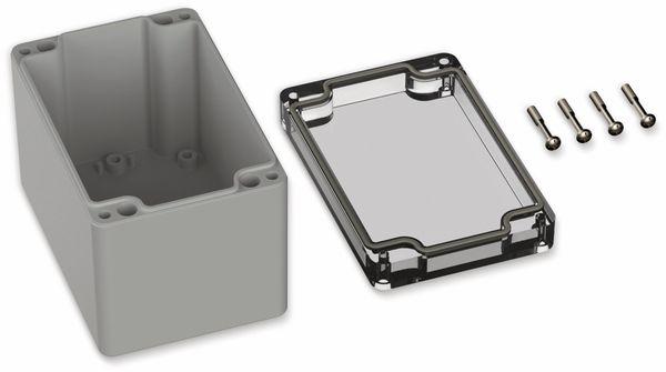 POLLIN, Polycarbonat Gehäuse, 120 x 80 x 85 mm, IP65, Lichtgrau, Glasklarer Deckel - Produktbild 2