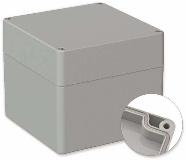 POLLIN, Polycarbonat Gehäuse, 122 x 120 x 105 mm, IP66, Lichtgrau