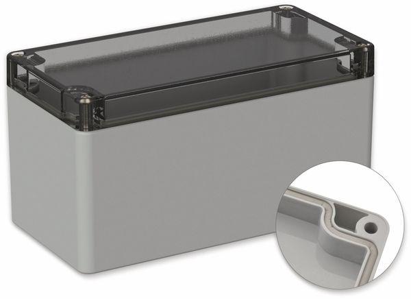 POLLIN, Polycarbonat Gehäuse, 160 x 80 x 85 mm, IP66, Lichtgrau, Glasklarer Deckel